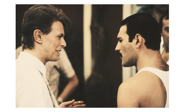David Bowie and Freddie Mercury